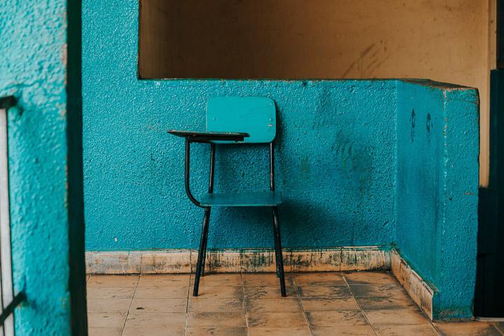 school chair against wall